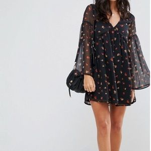 Influence Smock Dress With Flare Sleeves